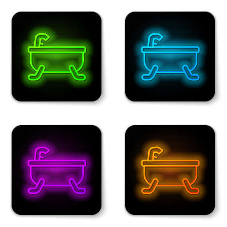 Glowing neon line Bathtub icon isolated on white background. Black square button. Vector Çizim