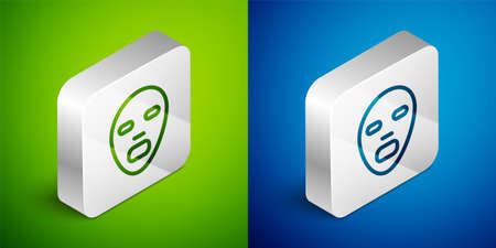 Isometric line Facial cosmetic mask icon isolated on green and blue background. Cosmetology, medicine and health care. Silver square button. Vector