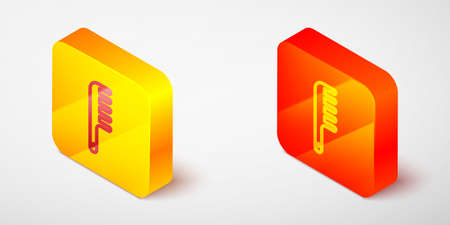 Isometric line Hairbrush icon isolated on grey background. Comb hair sign. Barber symbol. Yellow and orange square button. Vector Çizim