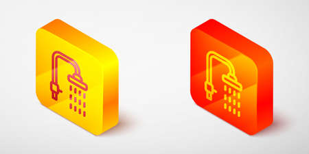 Isometric line Shower head with water drops flowing icon isolated on grey background. Yellow and orange square button. Vector Çizim