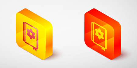 Isometric line Jewish torah book icon isolated on grey background. Pentateuch of Moses. On the cover of the Bible is the image of the Star of David. Yellow and orange square button. Vector