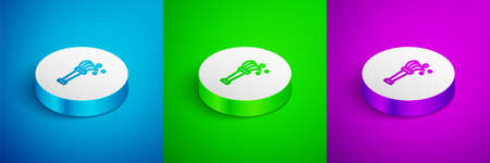 Isometric line Aspergillum icon isolated on blue,green and purple background. White circle button. Vector