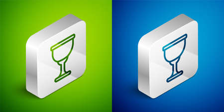 Isometric line Holy grail or chalice icon isolated on green and blue background. Christian chalice. Christianity icon. Silver square button. Vector Çizim