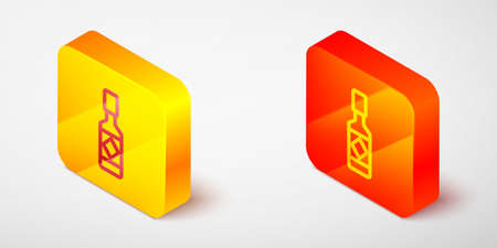 Isometric line Tabasco sauce icon isolated on grey background. Chili cayenne spicy pepper sauce. Yellow and orange square button. Vector