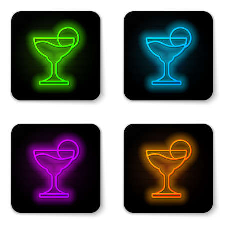 Glowing neon line Margarita cocktail glass with lime icon isolated on white background. Black square button. Vector Çizim