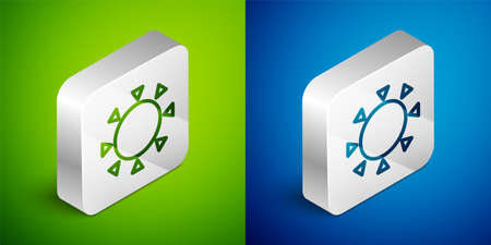 Isometric line Sun icon isolated on green and blue background. Summer symbol. Good sunny day. Silver square button. Vector