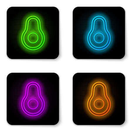 Glowing neon line Avocado fruit icon isolated on white background. Black square button. Vector