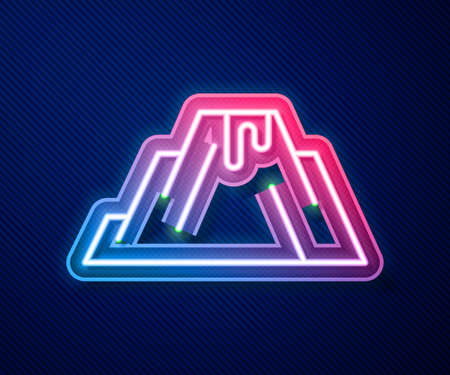 Glowing neon line Volcano eruption with lava icon isolated on blue background. Vector