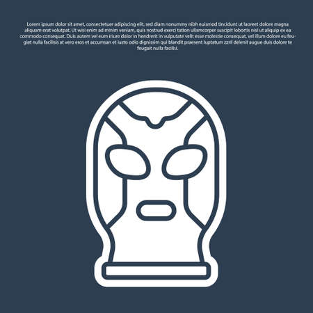 Blue line Mexican wrestler icon isolated on blue background. Vector 向量圖像
