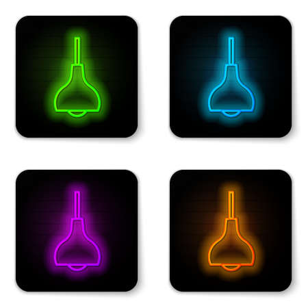 Glowing neon line Lamp hanging icon isolated on white background. Ceiling lamp light bulb. Black square button. Vector