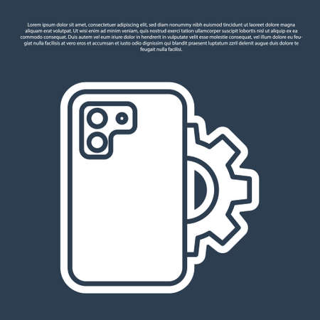 Blue line Phone repair service icon isolated on blue background. Adjusting, service, setting, maintenance, repair, fixing. Vector Ilustração Vetorial