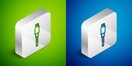 Isometric line USB cable cord icon isolated on green and blue background. Connectors and sockets for PC and mobile devices. Silver square button. Vector