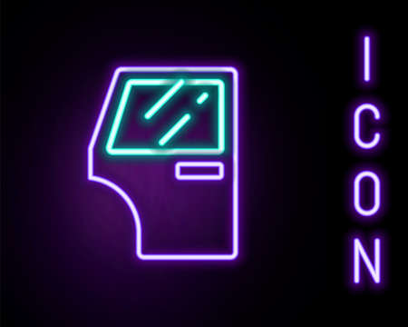 Glowing neon line Car door icon isolated on black background. Colorful outline concept. Vector