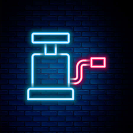 Glowing neon line Car air pump icon isolated on brick wall background. Colorful outline concept. Vector Ilustracja