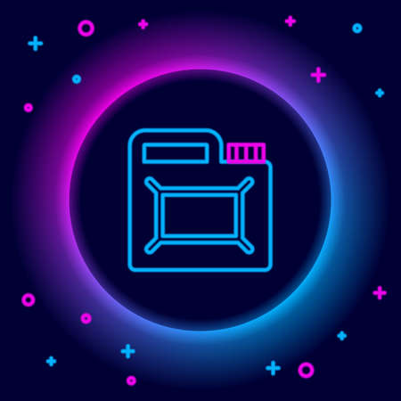 Glowing neon line Canister for motor machine oil icon isolated on black background. Oil gallon. Oil change service and repair. Engine oil sign. Colorful outline concept. Vector Ilustracja