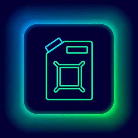 Glowing neon line Canister for gasoline icon isolated on black background. Diesel gas icon. Colorful outline concept. Vector Ilustracja