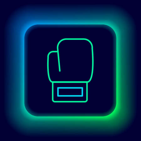 Glowing neon line Boxing glove icon isolated on black background. Colorful outline concept. Vector
