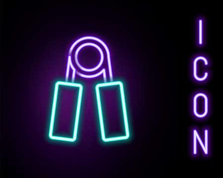 Glowing neon line Sport expander icon isolated on black background. Sport equipment. Colorful outline concept. Vector