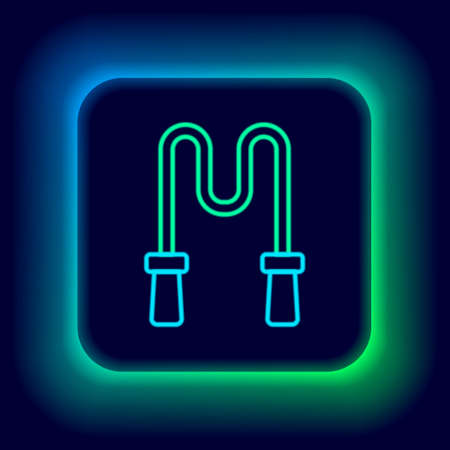 Glowing neon line Jump rope icon isolated on black background. Skipping rope. Sport equipment. Colorful outline concept. Vector
