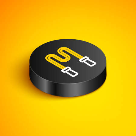 Isometric line Jump rope icon isolated on yellow background. Skipping rope. Sport equipment. Black circle button. Vector