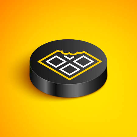 Isometric line Chocolate bar icon isolated on yellow background. Black circle button. Vector Ilustracja