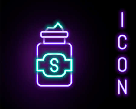 Glowing neon line Jar of sugar icon isolated on black background. Colorful outline concept. Vector