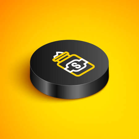 Isometric line Jar of sugar icon isolated on yellow background. Black circle button. Vector