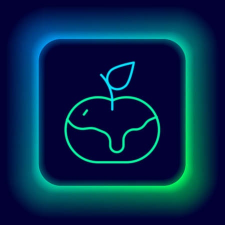 Glowing neon line Apple in caramel icon isolated on black background. Colorful outline concept. Vector
