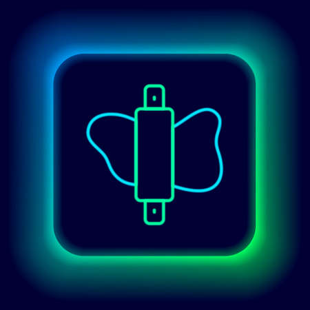 Glowing neon line Rolling pin on dough icon isolated on black background. Colorful outline concept. Vector Ilustracja