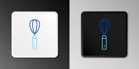 Line Kitchen whisk icon isolated on grey background. Cooking utensil, egg beater. Cutlery sign. Food mix symbol. Colorful outline concept. Vector