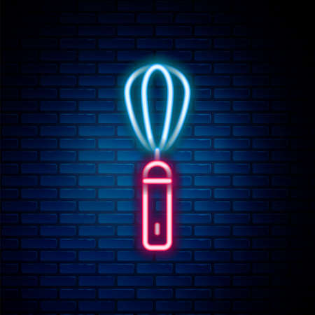 Glowing neon line Kitchen whisk icon isolated on brick wall background. Cooking utensil, egg beater. Cutlery sign. Food mix symbol. Colorful outline concept. Vector