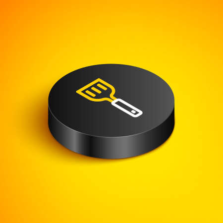 Isometric line Spatula icon isolated on yellow background. Kitchen spatula icon. BBQ spatula sign. Barbecue and grill tool. Black circle button. Vector