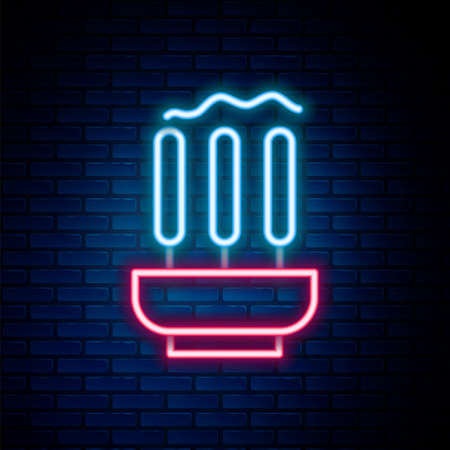 Glowing neon line Burning aromatic incense sticks icon isolated on brick wall background. Colorful outline concept. Vector