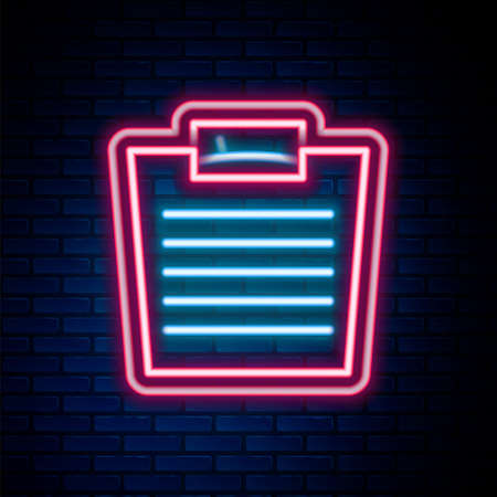 Glowing neon line Bathroom scales icon isolated on brick wall background. Weight measure Equipment. Weight Scale fitness sport concept. Colorful outline concept. Vector