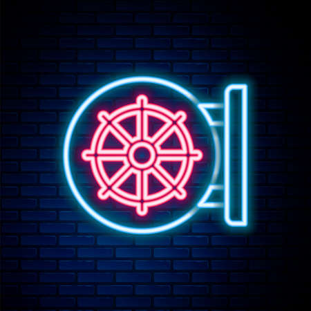 Glowing neon line Dharma wheel icon isolated on brick wall background. Buddhism religion sign. Dharmachakra symbol. Colorful outline concept. Vector  イラスト・ベクター素材