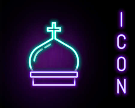 Glowing neon line Christian church tower icon isolated on black background. Religion of church. Colorful outline concept. Vector