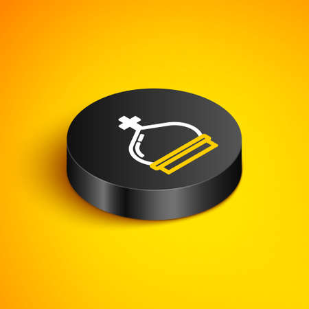 Isometric line Christian church tower icon isolated on yellow background. Religion of church. Black circle button. Vector