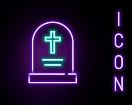 Glowing neon line Tombstone with cross icon isolated on black background. Grave icon. Happy Halloween party. Colorful outline concept. Vector