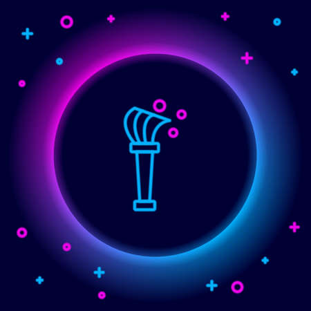 Glowing neon line Aspergillum icon isolated on black background. Colorful outline concept. Vector