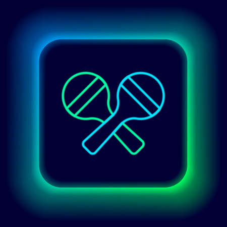 Glowing neon line Maracas icon isolated on black background. Music maracas instrument mexico. Colorful outline concept. Vector