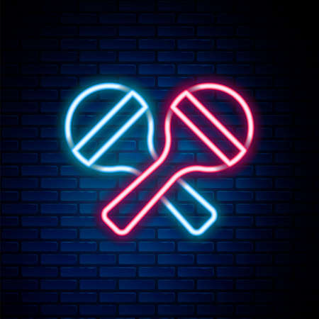 Glowing neon line Maracas icon isolated on brick wall background. Music maracas instrument mexico. Colorful outline concept. Vector Ilustracja