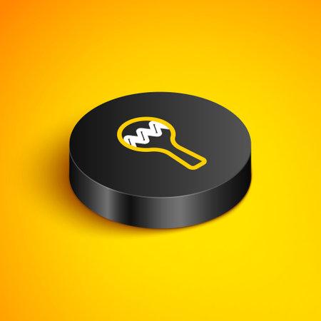 Isometric line Maracas icon isolated on yellow background. Music maracas instrument mexico. Black circle button. Vector Ilustracja