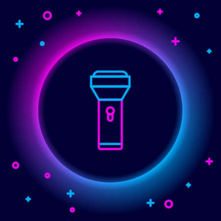 Glowing neon line Flashlight icon isolated on black background. Colorful outline concept. Vector