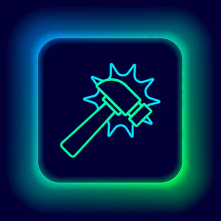 Glowing neon line Hammer icon isolated on black background. Tool for repair. Colorful outline concept. Vector