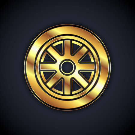 Gold Car wheel icon isolated on black background. Vector