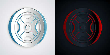 Paper cut Car wheel icon isolated on grey and black background. Paper art style. Vector 일러스트