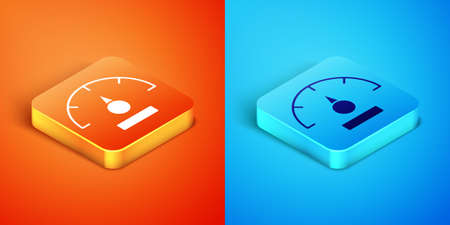 Isometric Speedometer icon isolated on orange and blue background. Vector