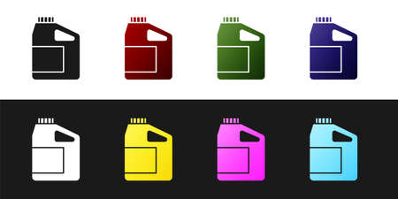Set Canister for motor machine oil icon isolated on black and white background. Oil gallon. Oil change service and repair. Engine oil sign. Vector 일러스트