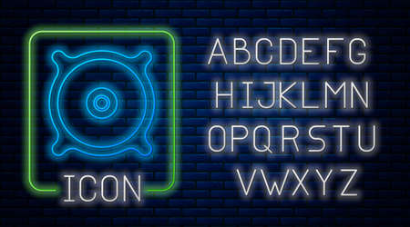 Glowing neon Car audio speaker icon isolated on brick wall background. Neon light alphabet. Vector 일러스트