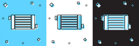 Set Car radiator cooling system icon isolated on blue and white, black background. Vector
